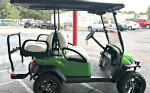 Club Car Onward 4 Passenger Lifted Gas. As equipped with roof, tinted windshield, Bluetooth sound system, and upgraded 14″ tires and wheels, all for $12,499!