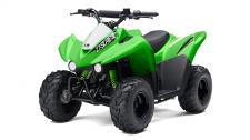 The KFX50 ATV is the perfect first ATV to introduce new riders six years and older to the exciting four-wheel lifestyle.  49.5cc four-stroke engine and automatic transmission delivers smooth beginner-friendly performance Push button electric start provides simple and reliable starting Parental controls such as an engine stop lanyard, adjustable throttle limiter, and CVT collar allow the speed and performance to be adjusted to rider experience Keyed ignition helps prevent unauthorized use Full floorboards help to protect feet Sporty styling featuring lime green bodywork provides race-inspired good looks