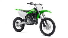 The KX100 motorcycle is the choice of future motocross champions. With more power and larger wheels than the KX85, this two-stroke super-mini gives riders the perfect blend of proportionate power increase with a larger chassis before transitioning to the big bikes.  High-performance liquid-cooled, two-stroke engine Six-position adjustable handlebar mount adjusts riding positions for taller riders Sophisticated suspension components are adjustable Larger (19F, 16R) wheels than the KX85 (17F, 14R) contribute to a taller 34.3 inch seat height