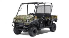 The MULE™ 4010 Trans4x4® Camo side x side with Realtree Xtra® Green camo pattern exudes the outdoor sportsman lifestyle. This versatile mid-size four-passenger workhorse is well equipped to put in a hard day of work and support hunting and fishing adventures.  Flexible convertible design lets you easily change from a four-seat crew mover to a two-seat cargo hauler, without the need for tools 617cc fuel-injected, V-Twin engine produces reliable performance Selectable 2WD or 4WD with dual-mode rear differential Capable of hauling up to 800 lbs. (steel cargo bed) and towing 1,200 lbs. Electric Power Steering (EPS) provides all-day driving comfort Premium Realtree Xtra Green Camo bodywork Backed by the industry-leading Kawasaki Strong 3-Year Limited Warranty