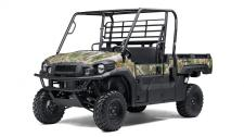 The MULE PRO-FX EPS Camo side x side features the rich patterns of Realtree Xtra Green Camouflage that can help get you into a perfect position on the hunt without ever being noticed.  Cargo Bed can fit a standard size 40×48 pallet with up to 1,000 lbs. of cargo capacity 812cc three-cylinder engine with massive torque, impressive pulling power, and smooth acceleration to tow heavy loads across rugged terrain Speed-sensitive EPS eases steering effort to provide all-day comfort and less driver fatigue High output LED headlights with Hi/Low beam settings provide additional lighting Premium Realtree Xtra Green Camo bodywork Backed by the industry-leading Kawasaki Strong 3-Year Limited Warranty
