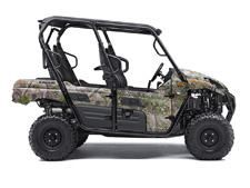 UP FOR ANY CHALLENGE, THE KAWASAKI TERYX4™ CAMO SIDE X SIDE TAKES ON THE WILDERNESS FULL-THROTTLE WITH ITS POWERFUL, 800-CLASS V-TWIN ENGINE AND PREMIUM FOX PODIUM PIGGYBACK SHOCKS.