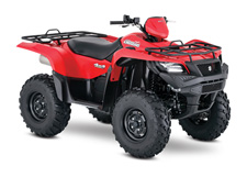 aking advantage of Suzuki's three-decades-plus experience with four-wheelers, the 2017 Suzuki KingQuad 750AXi is designed for phenomenal performance on the trail or on the job. Its fuel-injected engine features a twin-spark-plug cylinder head with iridium, projection-type spark plugs, and refined intake and exhaust cam profiles for quick starting in cold weather and smooth, strong overall performance. The KingQuad's advanced chassis lets you float over rough obstacles with ease while still being able to haul or tow what you need to get the job done