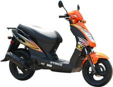 Tired of relying on your legs, your bicycle, your friends or your skateboard for transportation? Check out KYMCO's Agility 125, a versatile and spirited scooter that's easy on the eye and easier on the pocketbook. With power from a 125cc, 4-stroke engine coupled to a smooth-shifting CVT transmission, the Agility 125 is your ticket to self-reliance. Available in red, orange or blue, the Agility 125 delivers up to 75 miles per gallon fuel economy and comes with a helmet hook and under seat storage that makes it easy for you to take your board along for the ride.