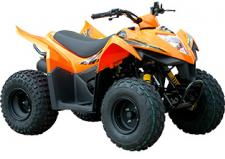 With street cred owed to its competitive successes in the Grand National Cross Country series and ATV motocross series, the Mongoose 90S is a youth-sized sport quad with an attitude. Powered by an air-cooled, 89cc engine, the Mongoose 90S rides big with power routed through KYMCO's popular CVT automatic transmission. Front drum brakes and rear discs provide the stopping power and ride stabilization comes from single A-arm front suspension and swing arm rear suspension mated to pre-load adjustable shocks. A screw-type throttle limiter allows parents to set speed and power limits based on their child's skill and experience.