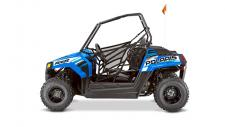 Youth models have special age restrictions; the Polaris RZR 170 is intended for operators age 10 and older, 50-cc ATV models are intended for operators ages 6 and over, 90-cc ATV models are intended for operators ages 10 and older, and the 200-cc ATV is intended for operators age 14 and older. All Polaris youth vehicles require adult supervision at all times for operators under age 16. May be shown with additional modifications and/or accessories