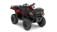 See how Sportsman® 450 H.O. wins against Honda® Rancher® in everything that matters. More Power, More Hauling, all for a better value. Polaris Sportsman, the best selling automatic 4×4. The AWD engages all four tires when the rear wheels slip and you need more forward traction. Reverts back to 2WD when you don't. Its simple and doesn't require pushing any extra buttons or pulling levers like the competition. The most integrated storage of any ATV. The 6.5 gallon capacity lets you stow-away loads of gear and still have access to it, even with items tied to the deck. When it comes to a hard working and smooth riding recreation and utlity ATV look no further than the Sportsman 450 H.O. Compared to Honda® Rancher® the choice is clear. Sportsman delivers more power, more towing, more hauling and a more comfortable ride making it a far superior value. Carry more with a combined front and rear rack capacity of 270 lbs (180 lbs. Rear, 90 lbs. Front capacity). Sportsman 450 H.O. features flat racks and integrated steel tie downs to easily tie down and secure cargo. The Polaris Sportsman Lock and Ride Accessory system allows you to adapt on the fly and accessorize your ATV to tackle any task you throw at it. Sportsman ATVs have hundreds of Lock and Ride accessories to convert your vehicle from a trail machine, to the ultimate work or hunt machine in just seconds. When you need an ATV that can adapt to any task, you need a Sportsman. Sportsman's® Integrated Winch & Plow Mount System allows you to install or remove your plow system in under a minute without the need for big bulky mounts, leaving you with full factory ground clearance for the trail. A full 10.5″ of obstacle-clearing off-road ground clearance lets you tackle some of the toughest terrain that comes your way. Sportsman 450 H.O. makes braking easy with single handed operation using a Single Lever 4-Wheel Hydraulic Disc system that automatically applies braking force to the front and rear wheels. For rear wheel braking Sportsman 450 H.O. features a hydraulic rear foot brake.  Sportsman comes standard with its contoured seat, optimized foam formulation and STX vinyl which provides all weather comfort. Spacious, flat footwells with integrated traction elements ensure solid footing.  Haul and Tow more with NEW! 450 H.O. Utility Edition Package:  NEW! Steel Racks with Heavy Duty Dual Rear Work Trays NEW! Steel Front Lower Bumper NEW! Steel Racks with Heavy Duty Work Tray NEW! Front & Rear Receiver Hitch