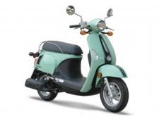 If style were electricity the KYMCO Compagno 110i would light up all of Tampa Bay; retro, small chassis, low seat, twist-and-go automatic, 70 miles and smiles per gallon.  The KYMCO Compagno 110i is KYMCO's smart small scooter with the high styling of classic scooter aesthetics. The affably affordable and technologically advanced package of the Compagno 110i features EFI, fold-out passenger footrests, speedometer, odometer, fuel gauge and clock, under-seat storage, plus a glovebox and backpack/helmet hook. The Compagno 110i has a low 29-inch seat height to provide riders of all leg lengths a comfortable, flat-footed stance when stopped, and a low step-through floor for ultra-easy get-on access, and, of course, has a twist-and-go automatic. The Compagno 110i also features a nifty four-way key: ignition on/off, gas cap lock, under-seat lock, fork lock, The Campagno is techno yet retro, and is available in Light Green, Matte Black, Matte White.