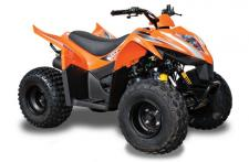 The Mongoose 70S is designed to maximize fun and parental controls, this youth-sized sporting ATV is for the youngest beginners challenging their local terrain. Powered by an air-cooled, carbureted 69cc, 4-stroke engine, with automatic CVT with F-N,, the chain-drive Mongoose 70S features single a-arm front and swingarm rear suspension, with preload adjustable shocks. Tires are 16 x 8-7 and braking is provided by front drum and a rear disc with safety lock. Electric start makes it easy to motor on away, and auto-stop safety lanyard kill-switch, screw-type throttle limiter, and a CVT collar allow speed and power limits to be set for young rider's skill and experience. Available in Black or Orange. ANSI/SVIA Rated Y6 – The Mongoose 70S is recommended for riders 6 years of age and older. Mongoose 70S riders younger than 16 years of age must be supervised by an adult, and should take a training course. This item may not be available immediately in dealer stock. Some items may need to be ordered. See terms for details. 11190