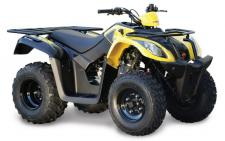 "The KYMCO MXU 150X is an ATV of utility ability with a heart of fun, in a small package of high value for 'round-the-farm jobs or fun runs on trails. The smallest in KYMCO's line of ""MXU"" utility ATVs, the MXU 150X is ANSI/SVIA Rated Y-12 (For riders 12-years old or over.), and equipped with an easy-to-operate automatic CVT transmission with F-N-R drive selector. The MXU 150X is the perfect ATV for the beginner rider developing his or her off road riding skills, with its air-cooled, 149cc, carbureted, 4-stroke, engine, chain-drive 2WD utility quad. Features include dual A-arm front suspension, swingarm rear suspension, preload adjustable shocks, and drum front and a single-disc rear brakes. Available in Blue, Tan, Yellow or Green. All ATV riders should take a training course and read their owner's manual thoroughly. MXU 150X riders younger than 16 years of age must be supervised by an adult. This item may not be available immediately in dealer stock. Some items may need to be ordered. See terms for details. 11192"