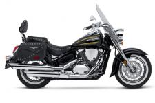 Ready for a highway run? With the Suzuki Boulevard C50T you'll find yourself equally at home on the boulevard or the interstate. Its fuel-injected, 50-cubic-inch V-twin engine delivers abundant torque and is engineered for comfort. Its bold styling stands out in a crowd, while a long list of features make it ideal for comfortable long-distance cruising. Tour-ready features include a spacious riding position, aerodynamic windshield, custom-made leather-look saddlebags with studs, dual seats with studs, and a studded backrest designed for passenger comfort.