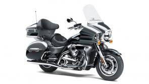 The Vulcan 1700 Voyager ABS motorcycle is the king of Kawasaki cruisers. A 1,700cc digitally fuel-injected V-twin engine plus Kawasaki Advanced Coactive-braking Technology (K-ACT II) ABS and electronic cruise control help make the Vulcan 1700 Voyager ABS the pinnacle of power and luxury on the open road.