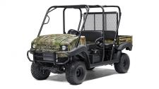 THE MULE 4010 TRANS4X4 CAMO SIDE X SIDE WITH REALTREE XTRA GREEN CAMO PATTERN EXUDES THE OUTDOOR SPORTING LIFESTYLE. THIS VERSATILE MID-SIZE FOUR-PASSENGER WORKHORSE IS WELL EQUIPPED TO PUT IN A HARD DAY OF WORK AND SUPPORT HUNTING AND FISHING ADVENTURES. 617cc fuel-injected, V-twin engine produces reliable performance Convertible design lets you easily change from a 4-seat crew mover to a 2-seat cargo hauler, without the need for tools Selectable 2WD or 4WD with dual-mode rear differential Up to 1,200-lbs. towing capacity and 800-lbs. cargo bed capacity Electric Power Steering (EPS) provides all-day driving comfort Premium Realtree Xtra Green Camo bodywork Backed confidently by the industry-leading Kawasaki STRONG 3-Year Limited Warranty