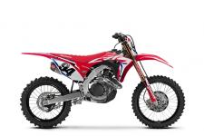 Looking for the ultimate 450? Then check out our new CRF450R Works Edition. You get all the improvements of this years bike plus a special hand-ported cylinder head, black DID LT-X rims, an exclusive Yoshimura muffler, titanium nitride-coated lower fork legs and shock shaft, an RK gold chain, special ECU settings, black triple clamps, revalved suspension, a factory-spec gripper seat, and full-on HRC decals. The only thing missing is a factory contract!