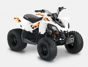 SMALL ATV, BIG SMILES. The DS 90 gives riders aged 10 and up a more thrilling, connected riding experience—with a throttle limiter for full speed control.