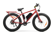 Motor Type	Brushless, Front  	 	Power	350 Watt  	 	Voltage	36V  	 	Transmission	Shimano® 7 Speed Acera S/S Derailleur  	 	Drive	Pedal Assisted System & Throttle And Go  	 	CHASSIS  	 	Front Brake	Disc, 160mm  	 	Rear Brake	Disc, 160mm  	 	Front Wheel / Tire	Aluminum Alloy / 26 x 4 All Terrain Fat Tire  	 	Rear Wheel / Tire	Aluminum Alloy / 26 x 4 All Terrain Fat Tire  	 	Frame	Aluminum Alloy, 18 inches  	 	Chain	KMC®  	 	Stepped Pulley	Sunrace®  	 	Display	Bafang® C961 LCD  	 	DIMENSIONS	   	 	Battery*	Lithium Ion, 36V 10Ah  	 	Range Per Charge	25 miles**  	 	Maximum Speed	20 MPH  	 	Weight	53 pounds  	 	Weight Capacity	280 pounds  	 	L x W x H	    72 x 26 x 42 inches
