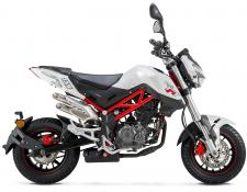 Single-cylinder, 4-stroke, Oil-cooled, 4-valve, SOHC, Double-spark - 5-speed - Available in Red, Black, and White.