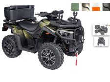 The MXU 700 LE Hunter EURO is a utilitarian, yet fun upgrade from the MXU 700 LE EPS EURO. Designed for riders who want to carry additional gear during their adventures. Whether for work or play, the ATV gear grips and rear cargo box secure items for a worry-free ride. To further protect riders and their belongings, KYMCO is proudly introducing new safety features. An extra safe combined braking system and, anti-theft lock for the steering. (Available in Silver/Black, Matte Green/Matte Black, White/Orange, Matte Black/Black, Green/Matte Black)