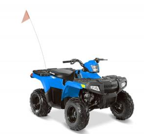 The 2020 Sportsman® 110 EFI is the perfect ATV to introduce your kids to the joys of off-roading. Ideal for young drivers ages 10 and older with adult supervision, the Sportsman 110 EFI delivers reliable performance and standard safety features. The Sportsman® 110 EFI comes standard with one youth helmet, safety tether, daytime running lights, safety whip flag, speed limiting adjuster, and a training DVD.