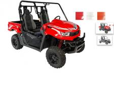 The UXV 700i model comes equipped with premium Kaifa gas-reservoir shocks, a standard feature rarely found on a base model, providing sure footed handling in rough terrain.  (Available in Red, Orange, and White)