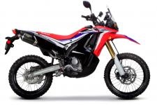 Inspired by the factory CRF450 Rally machine raced in the Dakar by Team Monster Energy Honda, and based on the standard CRF250L, the CRF250L Rally is ready for weekend adventure, long-distance touring or the daily commute. Featuring styling that evokes images of adventure and travel, the bike has long-travel suspension, large-disk brakes (with available ABS), excellent weather protection and an impressive cruising range. Engine performance combines solid bottom-end torque with substantial top-end power. 246611