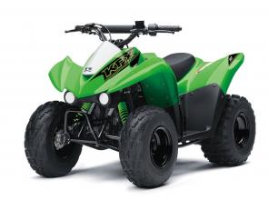 Get the kids outdoors and ready to ride on the KFX®90 ATV line with proportionate power and size thats perfect for riders ages 12 and older. KFX90 ATVs let kids take on tougher tracks and bigger adventures with an 89cc engine, while parental controls allow you to regulate their progress.